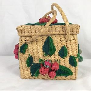 Vintage Berry Accent Straw Purse